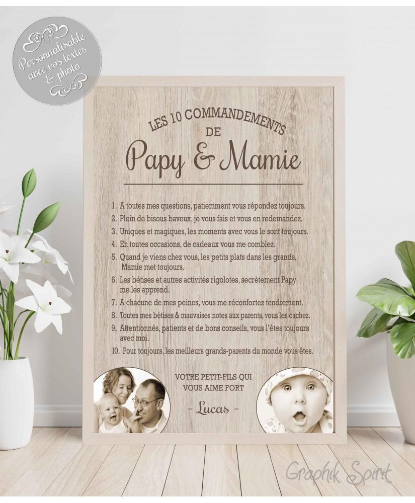 Tableau personnalisé des 10 commandements de Papy & Mamie