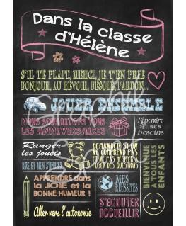 Tableau personnalisé pour Maitresse - Règles de la classe