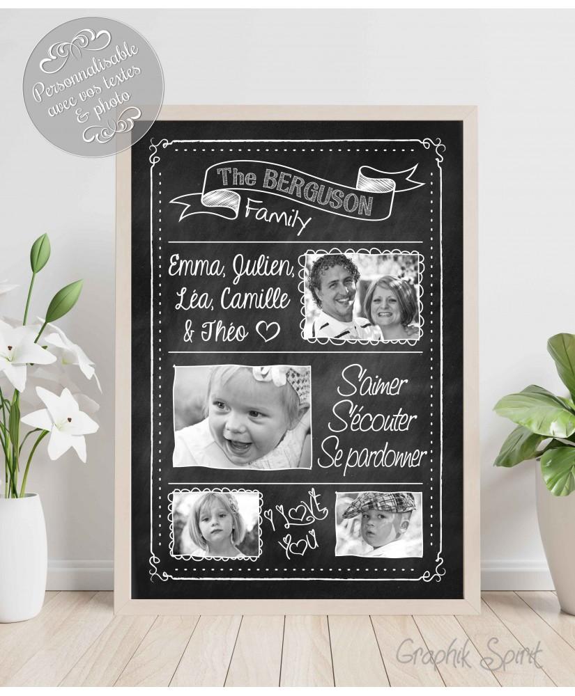 Tableau de famille personnalisé avec vos photos et textes - Ardoise