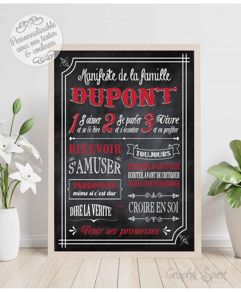 Tableau Manifeste de la famille personnalisé - Ardoise version blanc et rouge
