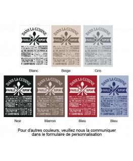 """Exemples coloris pour Tableau """"les commandements de la Cuisine"""" personnalisé - Règles de la cuisine"""