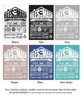 Exemple de coloris pour Tableau Règles de la maison personnalisé - Rétro