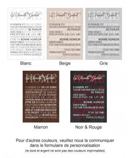 Exemple de coloris pour Tableau Règles de la maison personnalisé - Romantique