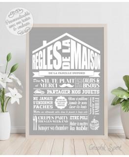 Tableau Règles de la maison personnalisé - Rétro