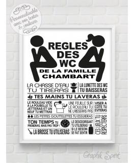 Tableau Règles des toilettes / WC personnalisé