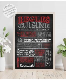 Tableau Règles de la cuisine personnalisé - Ardoise