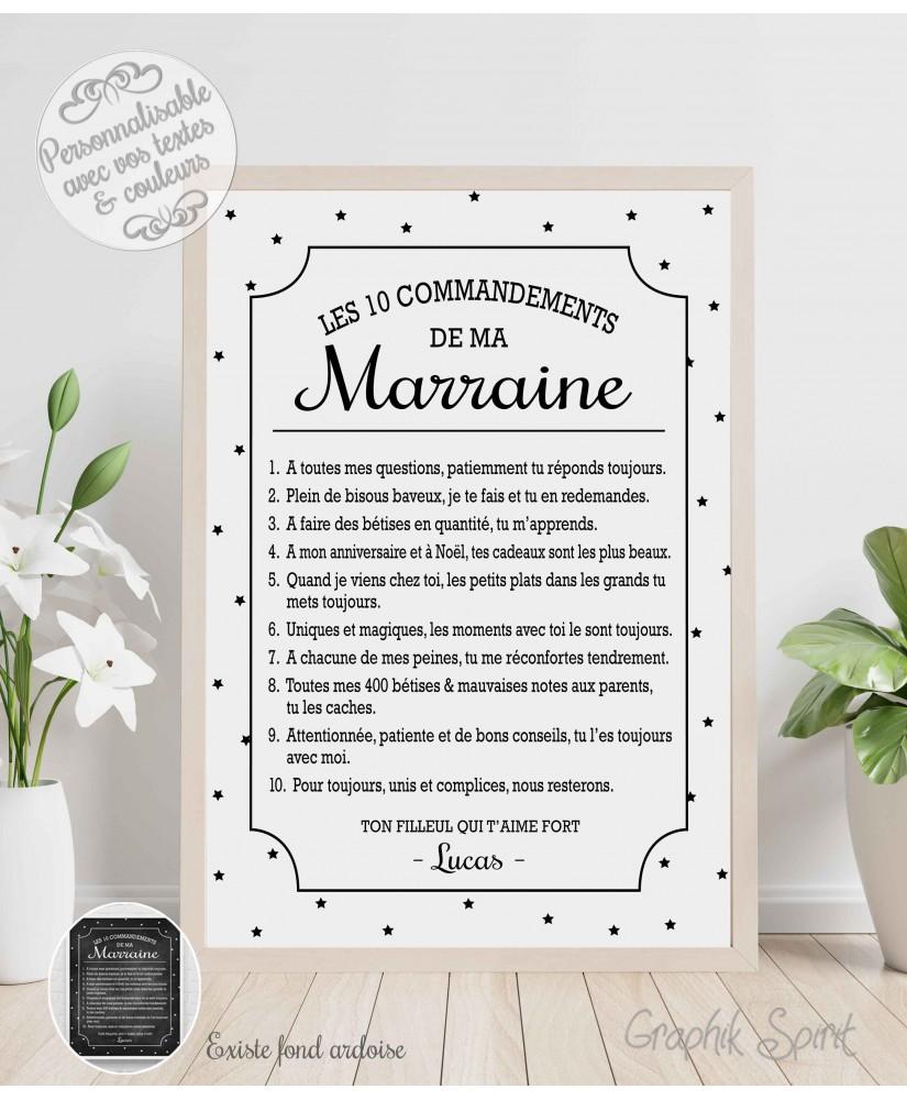 Tableau personnalisé des 10 commandements d'une Marraine