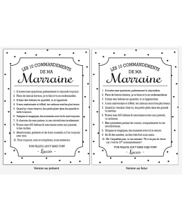 Version présent / version futur du Tableau Les 10 commandements d'une Marraine