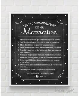 Tableau personnalisé des 10 commandements d'une Marraine - fond ardoise